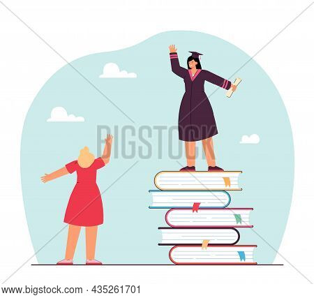 Female Graduate Standing On Book Stack And Waving At Mother. Girl In Graduation Cap With Diploma Fla
