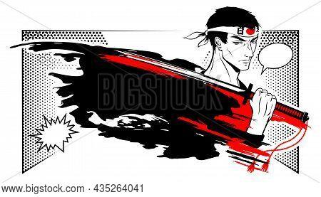 Warrior, A Samurai Holds A Katana On His Shoulder. Manga Style Illustration.