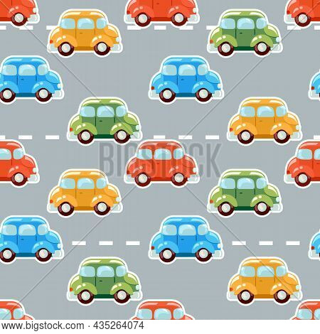 Cute Pattern From Multicolored Cartoon Cars That Drive Along The Road.