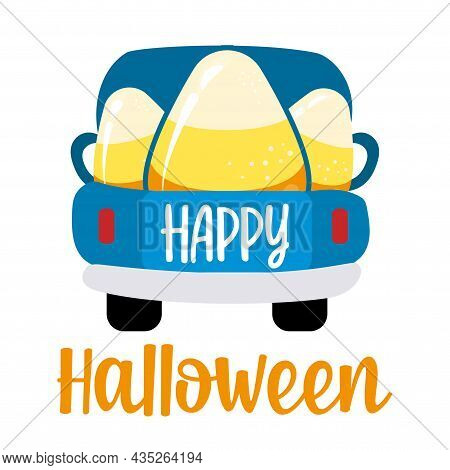 Happy Halloween - Pickup Truck Delivers Candy Corn. Design For Markets, Restaurants, Flyers, Cards,