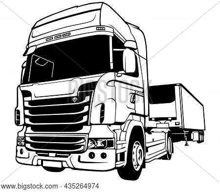 Black And White Lorry Big Rig Truck - Outlined Illustration Isolated On White Background, Vector