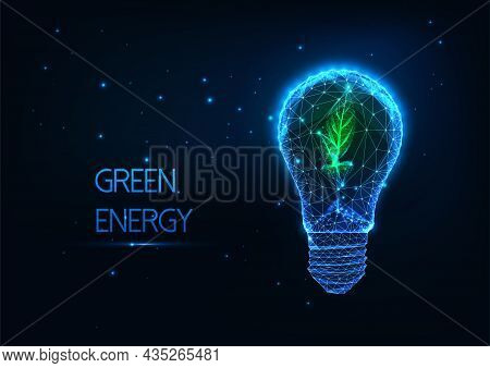 Abstract Green Energy Concept With Glowing Low Polygonal Lightbulb And Green Sprout On Dark Blue