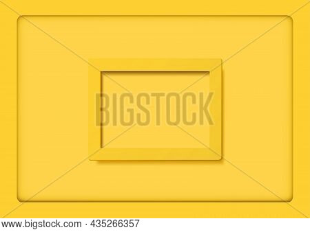 Yellow Frames On Yellow Background With Shadows - Geometrical Illustration With 3d Shadow Effects, V