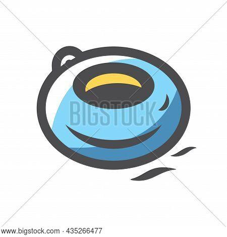 Water Tube Riding Vector Icon Cartoon Illustration