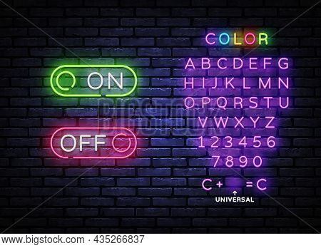 Button On Off Neon Sign Vector Design Template. Button On Off Neon Design, Light Banner, Design Elem