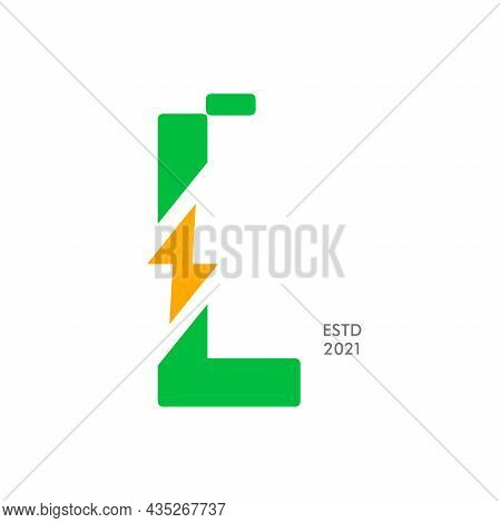 Simple And Modern Illustration Logo Design Initial L Shaped Like A Battery Charge.