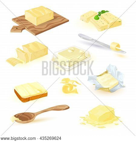 Dairy Products Collection. Vector Butter, Spread, Or Margarine On Cutting Board With Spinach And Bas