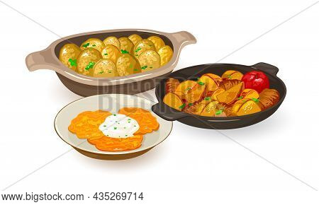 National Ukrainian Dishes Made Of Potatoes. Vector Pan Wok, New Potato With Greenery, Hash Browns. E