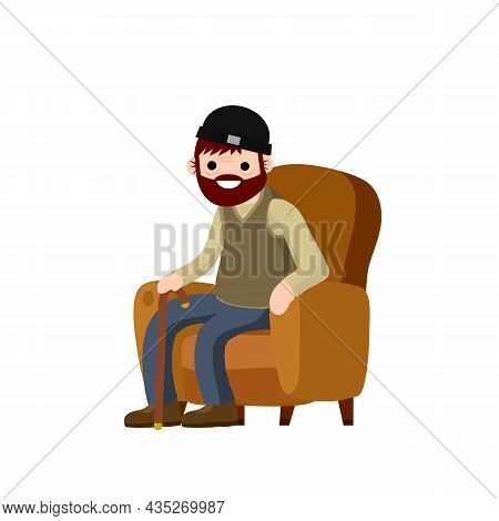 Old Man Is Sitting In Soft Armchair. Rest And Senior With A Cane. Brown Furniture And Room Element.