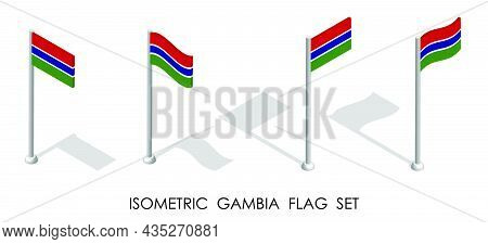 Isometric Flag Of Gambia In Static Position And In Motion On Flagpole. 3d Vector
