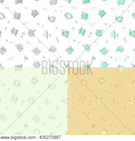 Set Of Seamless Patterns With Doodle Linear Icons. Geography,globe,calculator,university,chemistry,b