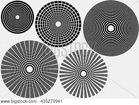 Set Of Circle Effects - Design Source Element As Black Illustrations Isolated On White Background, V