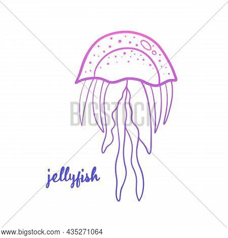 Doodle, Hand Drawn Jellyfish Icon, Illustration For Sea Life Design.