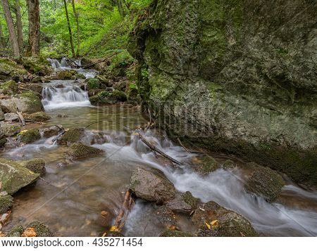A Very Beautiful Torrent With Several Small Cascades In The Middle Of The Forest