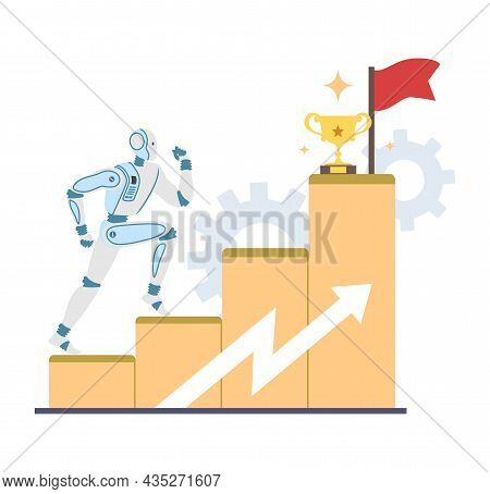 Robot Machine Leader Climbing Career Ladder With Trophy Cup And Flag, Vector Illustration. Ai Career