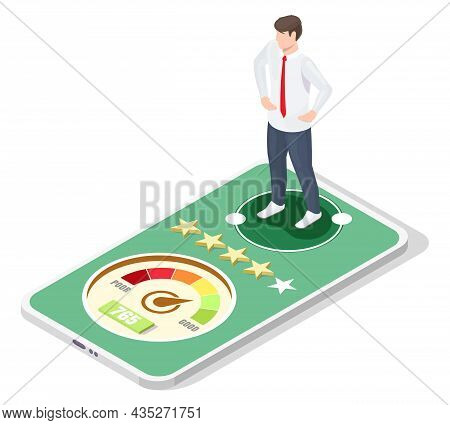 Businessman Good Credit Score Report, History On Mobile, Vector Isometric Illustration. Personal Cre