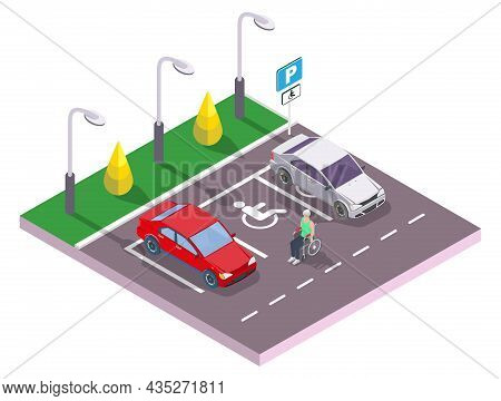 Man In Wheelchair At Accessible Parking Space For Cars, Vector Isometric Illustration. Parking Lot F