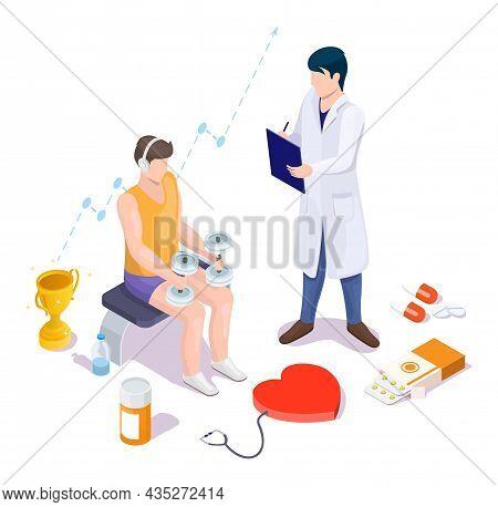 Doctor Prescribing Medicine For Athlete Training With Dumbbells, Vector Isometric Illustration. Spor
