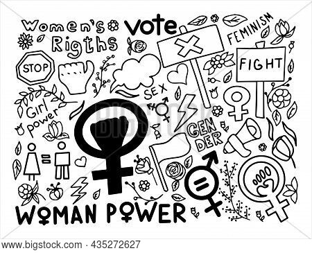 A Set Of Doodle Signs Of Feminism, Women S Rights. Grunge Hand Drawn Vector Icons Of Feminism Protes