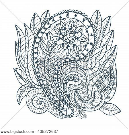 Decorative Element In Doodle Style, Isolated On White Background. Monochrome  Paisley Print . Vector