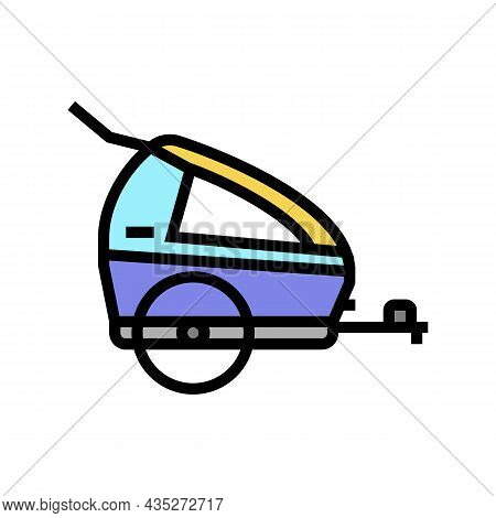 Trailer Kid For Bicycle Color Icon Vector. Trailer Kid For Bicycle Sign. Isolated Symbol Illustratio