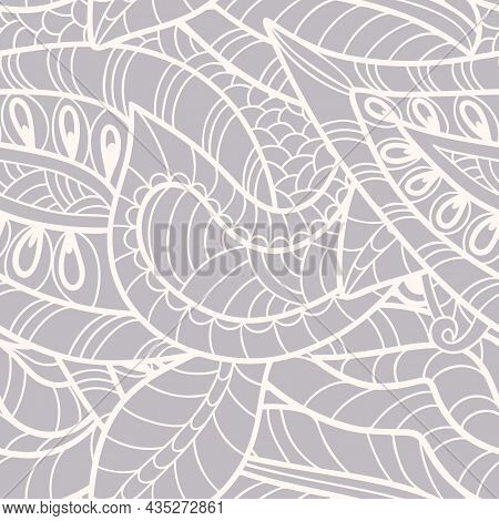 Monochrome  Seamless Pattern With Paisley Print In A Retro Style. Vector Illustration
