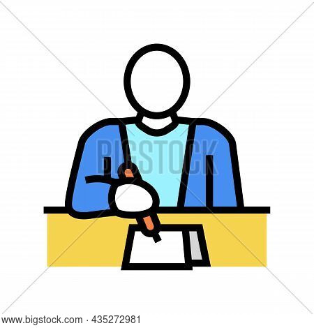 Writer Writing Article Color Icon Vector. Writer Writing Article Sign. Isolated Symbol Illustration