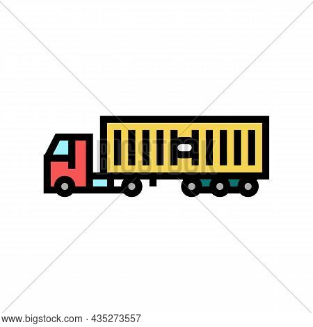 Ground Freight Truck Delivery Service Color Icon Vector. Ground Freight Truck Delivery Service Sign.