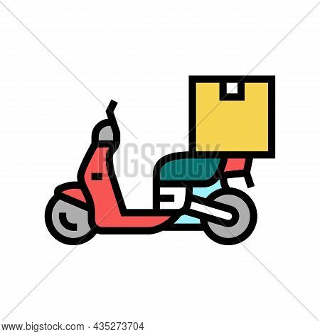 Motorbike Delivery Color Icon Vector. Motorbike Delivery Sign. Isolated Symbol Illustration