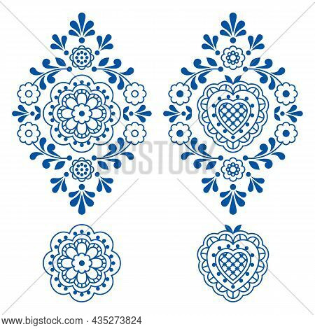 Floral Folk Art Outline Vector Motif Set With Flowers, Leaves And Heart, Retro Decorations Inspired