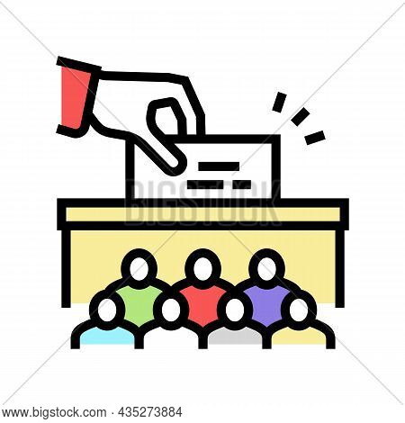 Voting Vote Box Politics Choice Election Color Icon Vector. Voting Vote Box Politics Choice Election