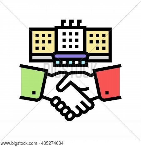Embassy Diplomats Handshaking Color Icon Vector. Embassy Diplomats Handshaking Sign. Isolated Symbol