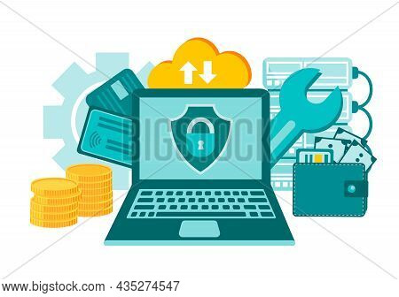 Information Security. Data Protection. Financial Insecurity On The Internet. Privacy System. Online