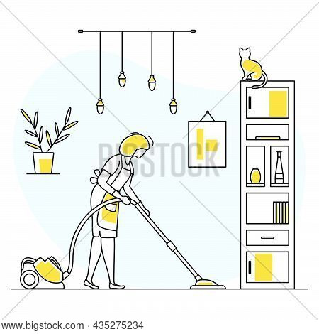 Vector Illustration Apartment House Cleaning Maid Service Woman Cleans The Room, Vacuums Professiona
