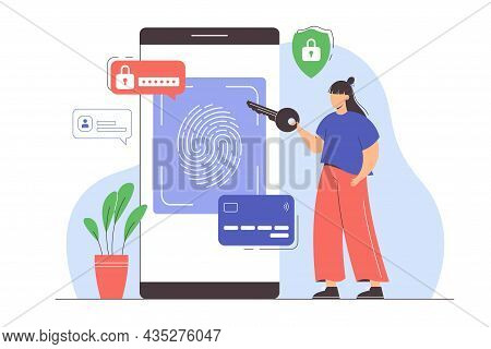 Data Protection With Biometric Identification. Fingerprint Security System On Smartphone For Secure