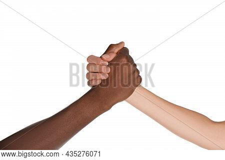 Woman And African American Man Clasping Hands On White Background, Closeup