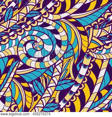 Seamless Pattern With Multicolor Paisley Print. Vector Illustration