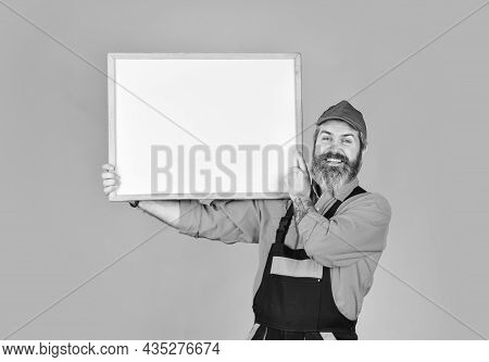 Builder Points To Flipchart. Architect Worker Hold Flip Chart. Conference Meeting. Person Presenting