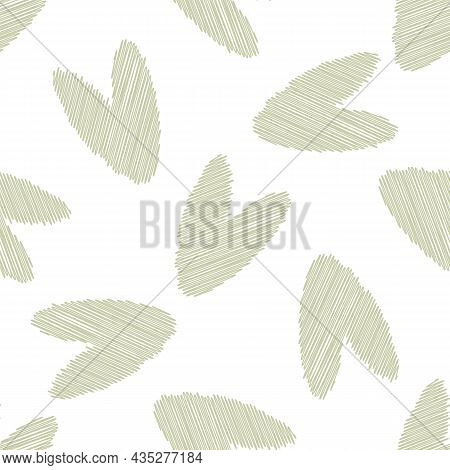 Scribbled Vector Heart Seamless Pattern Background.pastel Sage Green Love Care Concept Backdrop With