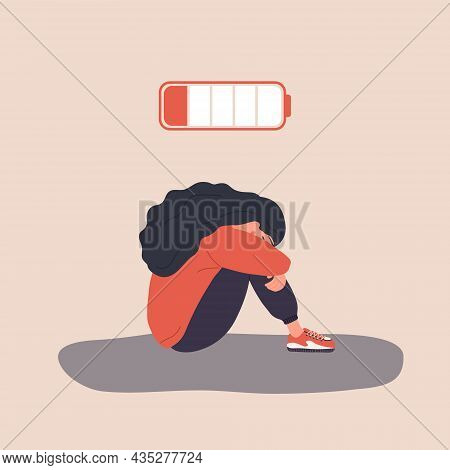Professional Burnout. Exhausted Girl With Low Battery Sitting On Floor And Crying. Mental Health Pro