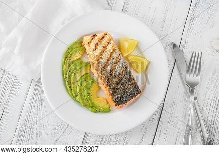 Fried Salmon With Avocado Slices