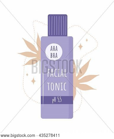 Facial Tonic. Skin Care. Morning Routine. Cleansing, Toning And Moisturizing. Hand Drawn Beauty Prod