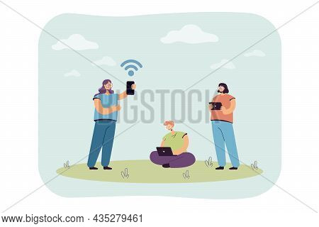 Young Cartoon People Using Gadgets And Internet. Girls And Boy With Smartphone, Tablet And Laptop Fl