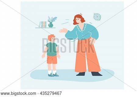 Angry Cartoon Mom Reproaching Upset Son For Being Naughty. Argument Between Mother And Crying Kid Fl