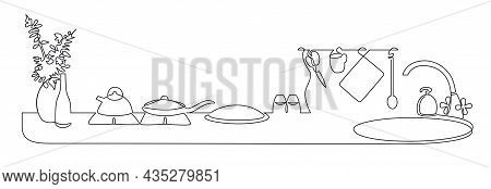Continuous One Line Drawing Of Kitchen Interior With Home Appliances. Kitchen Worktop With Gas Hob A
