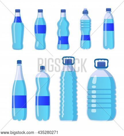 Plastic Drinking Water Bottles Set. Cartoon Vector Illustrations Of Different Shapes And Sizes Trans