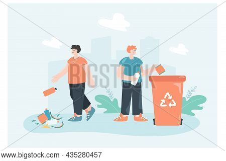 Two Cartoon Men Throwing Trash On Ground Or In Recycle Can. Person Recycling Plastic, Male Littering