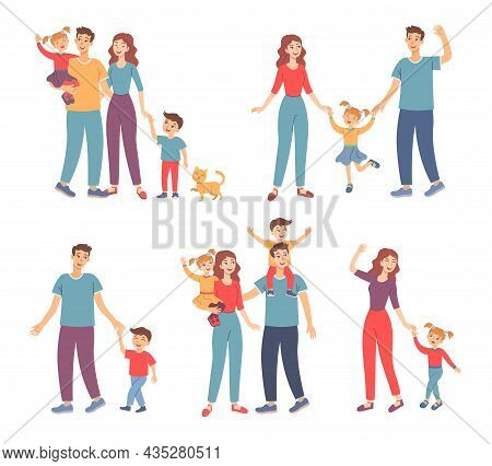 Happy Family Walking Together Outdoors Set. Vector Illustrations Of Parents And Children Holding Han