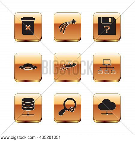 Set Trash Can, Server, Data, Web Hosting, Search Location, Ufo Flying Spaceship And Alien, And Unkno