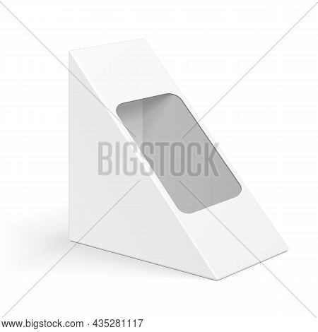 Mockup White Cardboard Triangle Box Packaging For Sandwich, Food, Gift Or Other Products. Illustrati